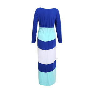 Long Sleeve Colorblock Chevron Accent Maternity Maxi Dress