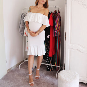 Maternity Off Shoulder Flounced Sexy Dress