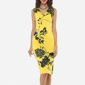Charming Printed V Neck Bodycon Dress