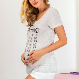 Maternity Letter & Number Print Clothes