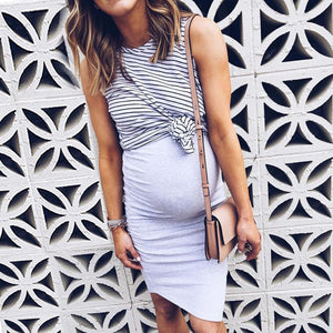 Maternity Fake-Two-Piece Stripes Color Block Casual Dress