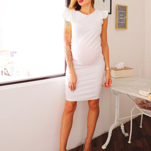 Maternity Flounced Knee-Length Bodycon Dress
