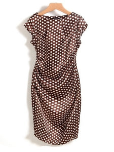 Appealing Pleated Polka Dot Bodycon-Dress