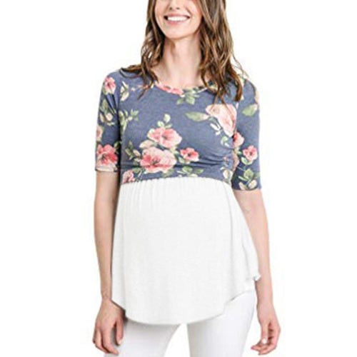 Maternity Lactation Printed  Joint T-Shirt