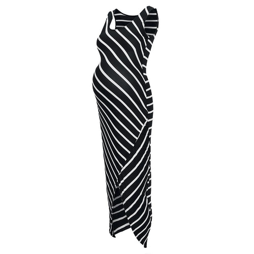 Scoop Neck  Asymmetric Hem  Striped  Sleeveless Maxi Dresses