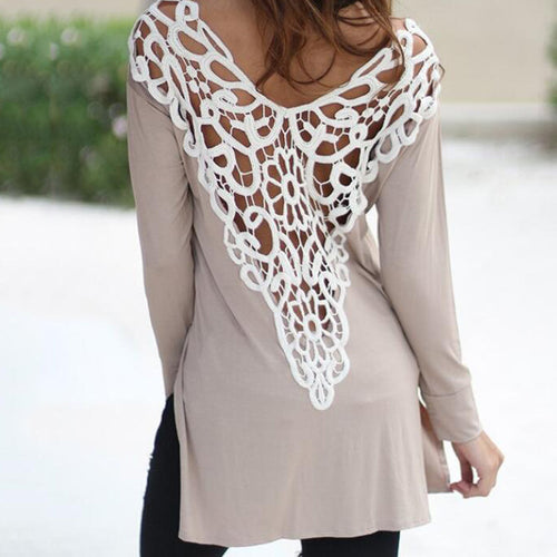 Maternity Lace Hollowed-Out Long-Sleeve T-Shirts