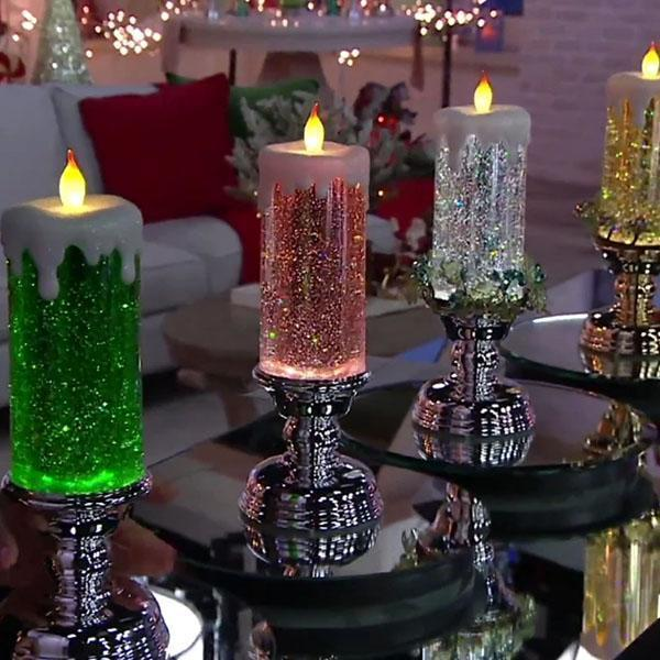 LED Flameless Glitter Candle