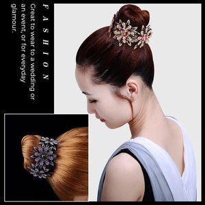 (50% OFF)Rhinestone Hair Bun Claws Holders(2 PCS)