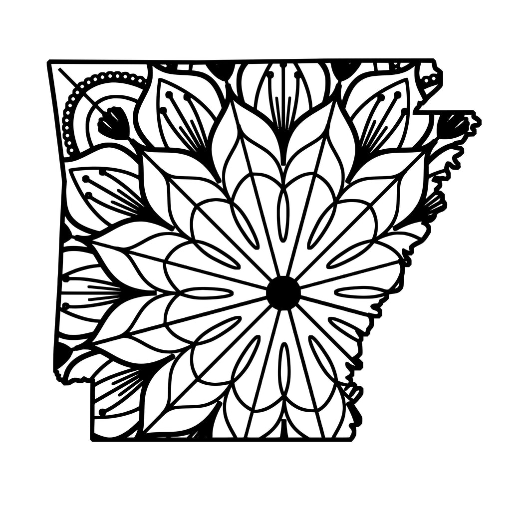 Arkansas Map Mandala - Arkansas Map Mandala Svg -