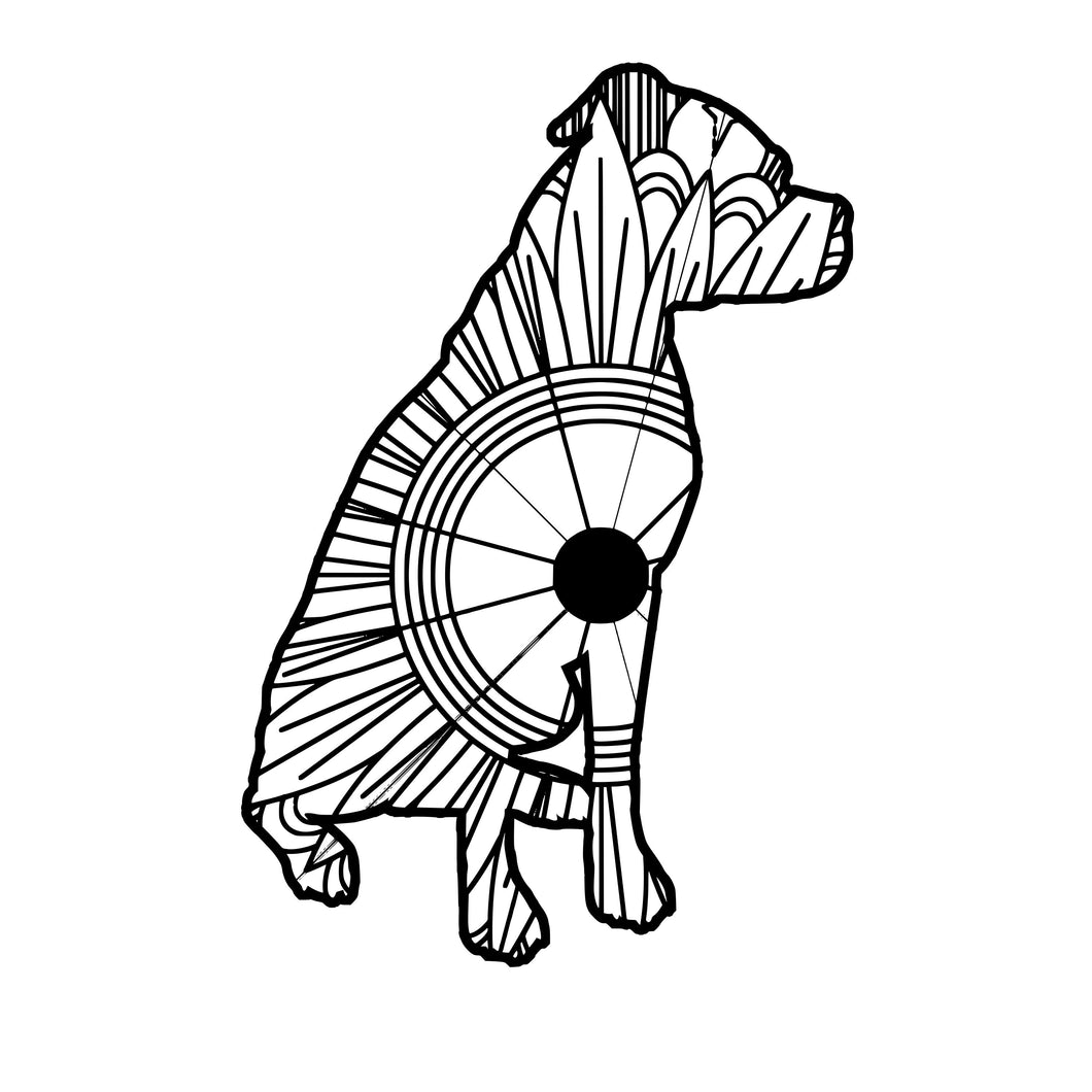 Boxer Dog Sitting Mandala SVG