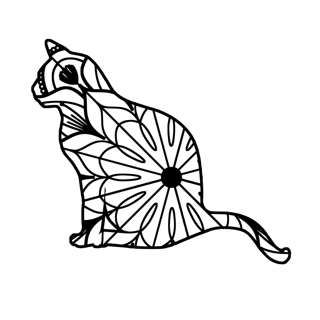 Cat Sitting Mandala - Cat Sitting Mandala Svg -