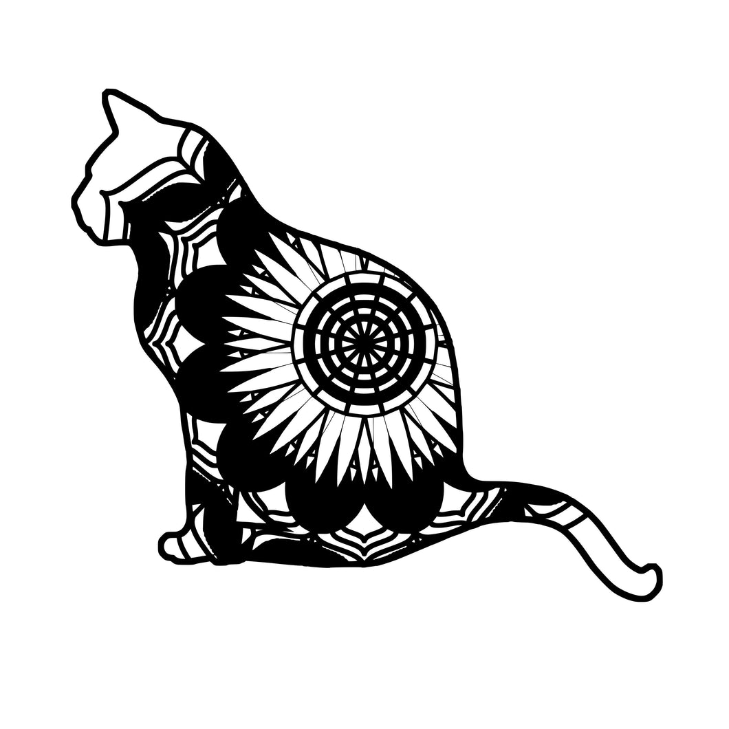 Cat Sitting Mandala Animals SVG