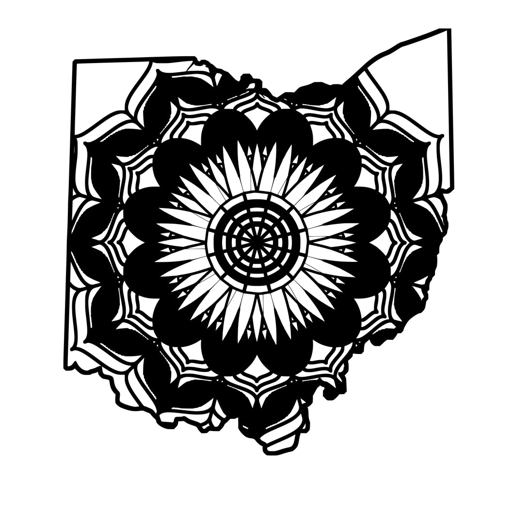 Ohio Map Mandala Animals SVG