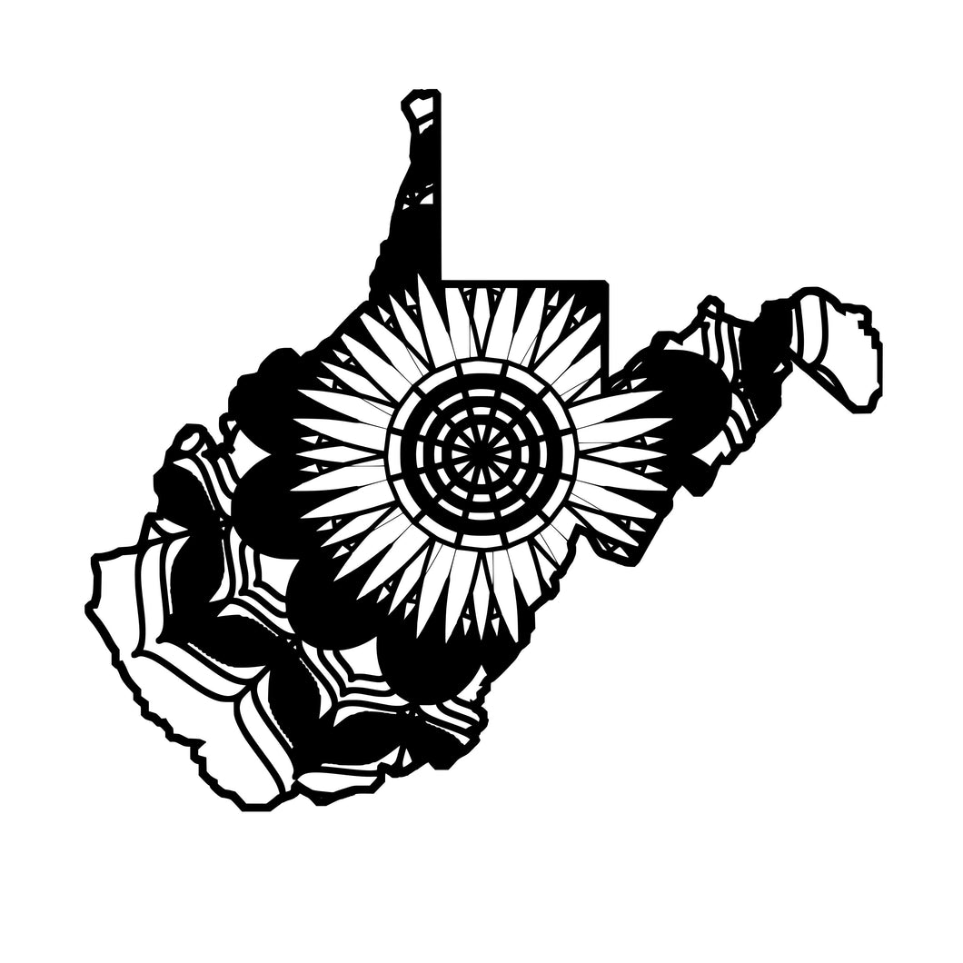 West Virginia Map Mandala Animals SVG