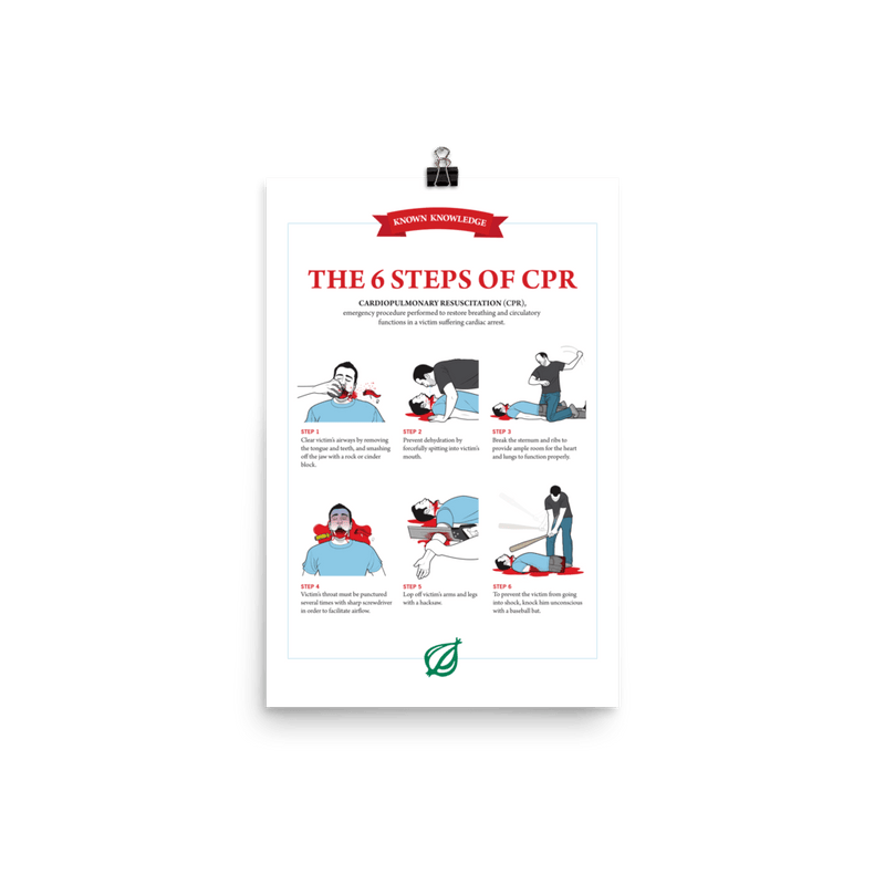 'The 6 Steps of CPR Poster' from The Onion's Book of Known Knowledge 12×18 from The Onion Store
