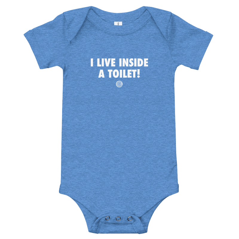 ClickHole's 'I LIVE INSIDE A TOILET!' Onesie Heather Columbia Blue / 18-24m from The Onion Store
