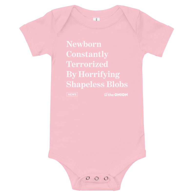 'Terrorized By Shapeless Blobs' Onion Headline Infant Onesie Pink / 18-24m from The Onion Store
