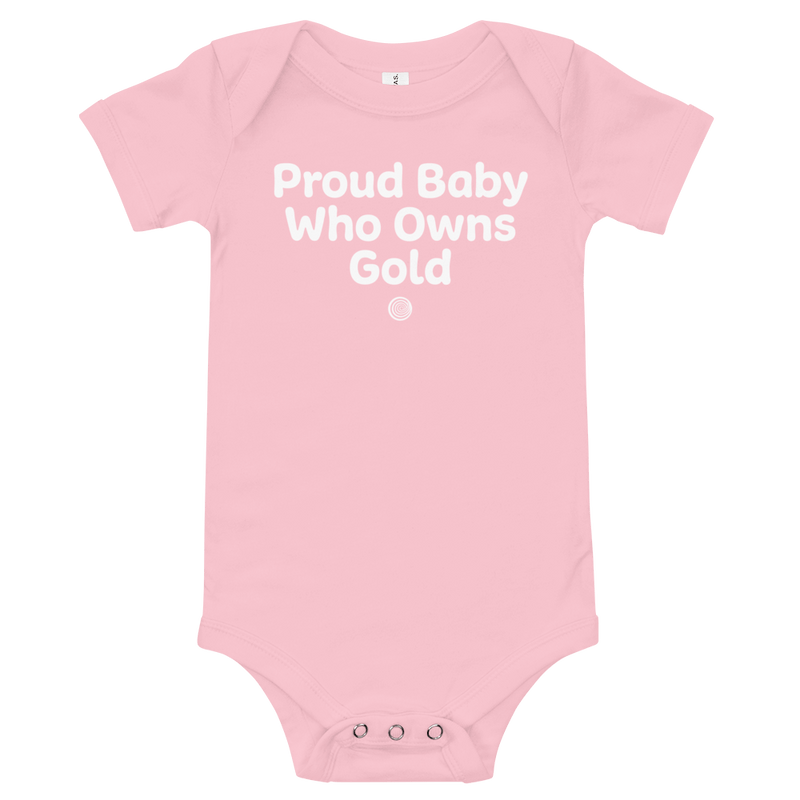 ClickHole's 'Proud Baby Who Owns Gold Onesie Pink / 18-24m from The Onion Store