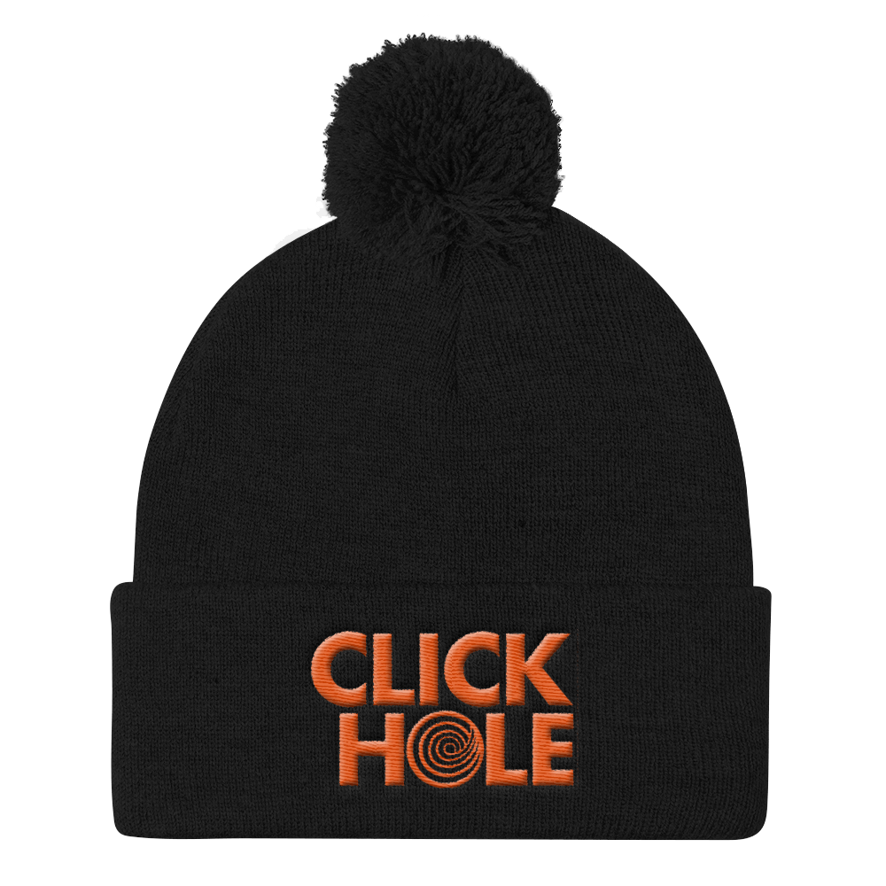 ClickHole Logo Pom Pom Knit Cap Black from The Onion Store