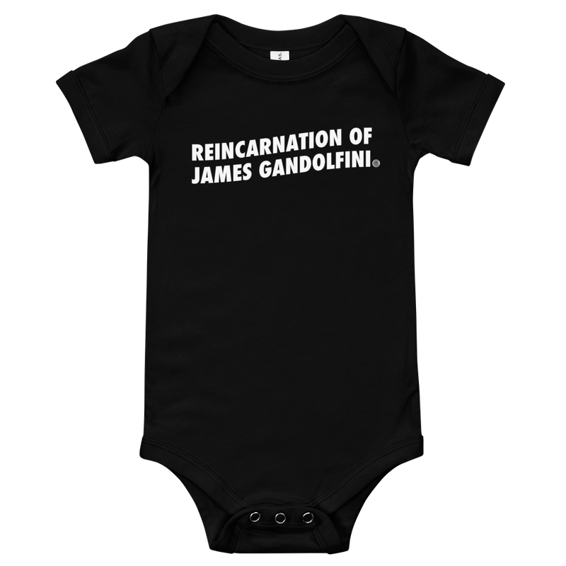 ClickHole's 'REINCARNATION OF JAMES GANDOLFINI' Onesie Black / 18-24m from The Onion Store
