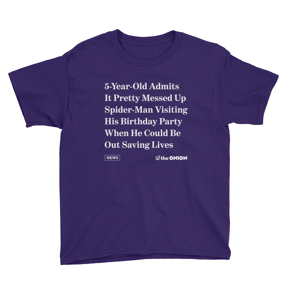 '5-Year-Old Admits It Pretty Messed Up' Onion Headline Kid T-Shirt Purple / XL from The Onion Store