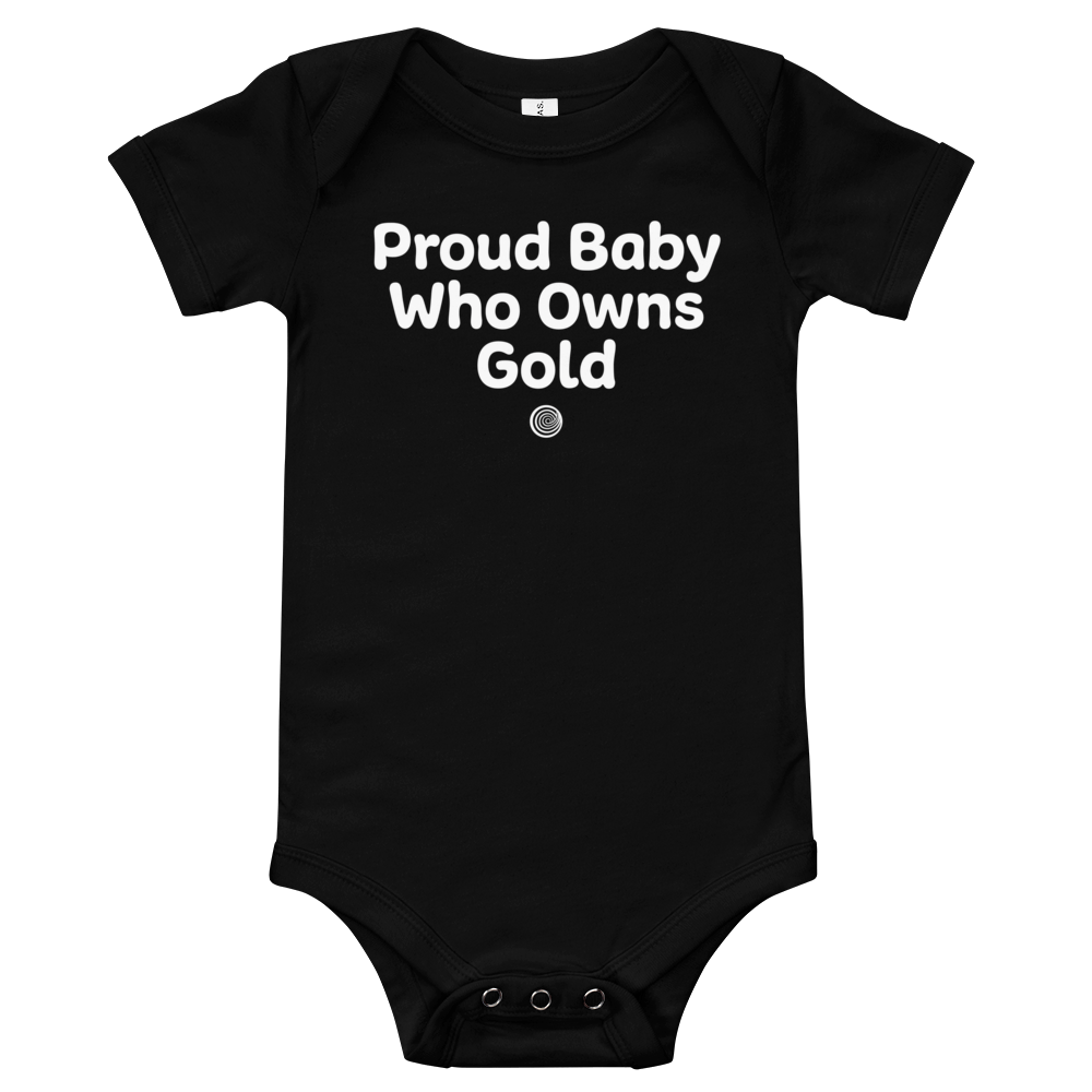 ClickHole's 'Proud Baby Who Owns Gold Onesie Black / 18-24m from The Onion Store