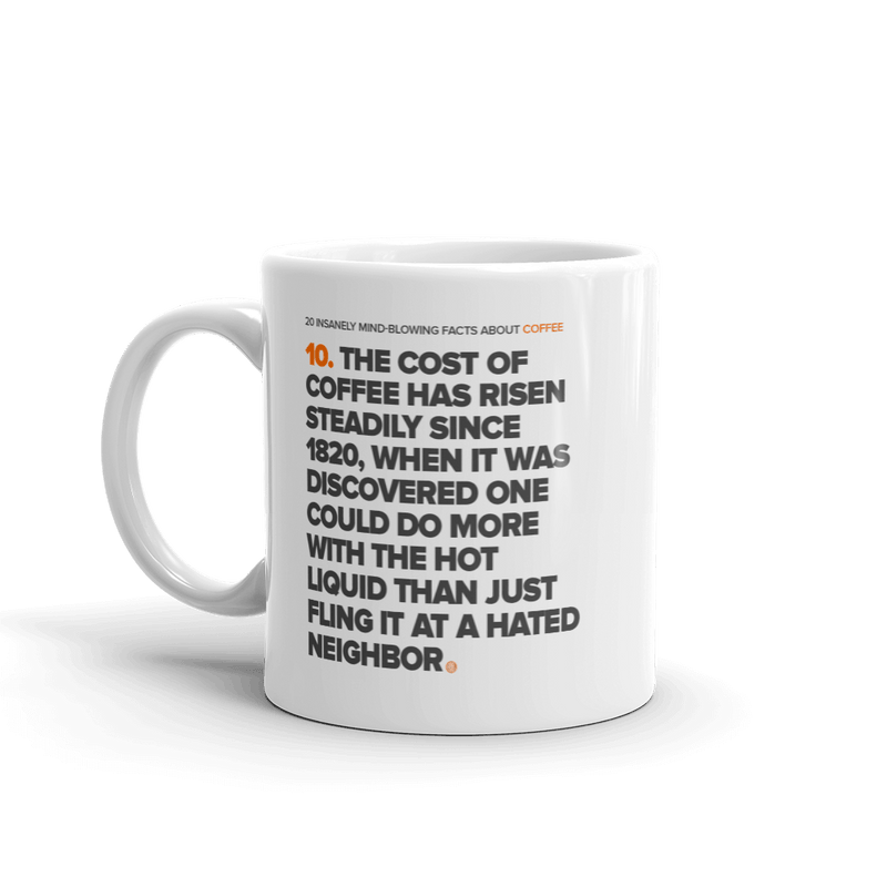 ClickHole Coffee Facts 'Cost of Coffee since 1820' Mug  from The Onion Store