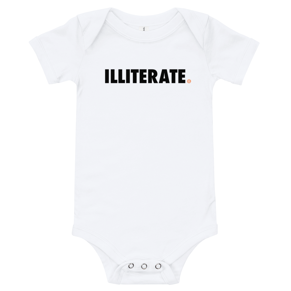 ClickHole's 'ILLITERATE' Onesie White / 18-24m from The Onion Store