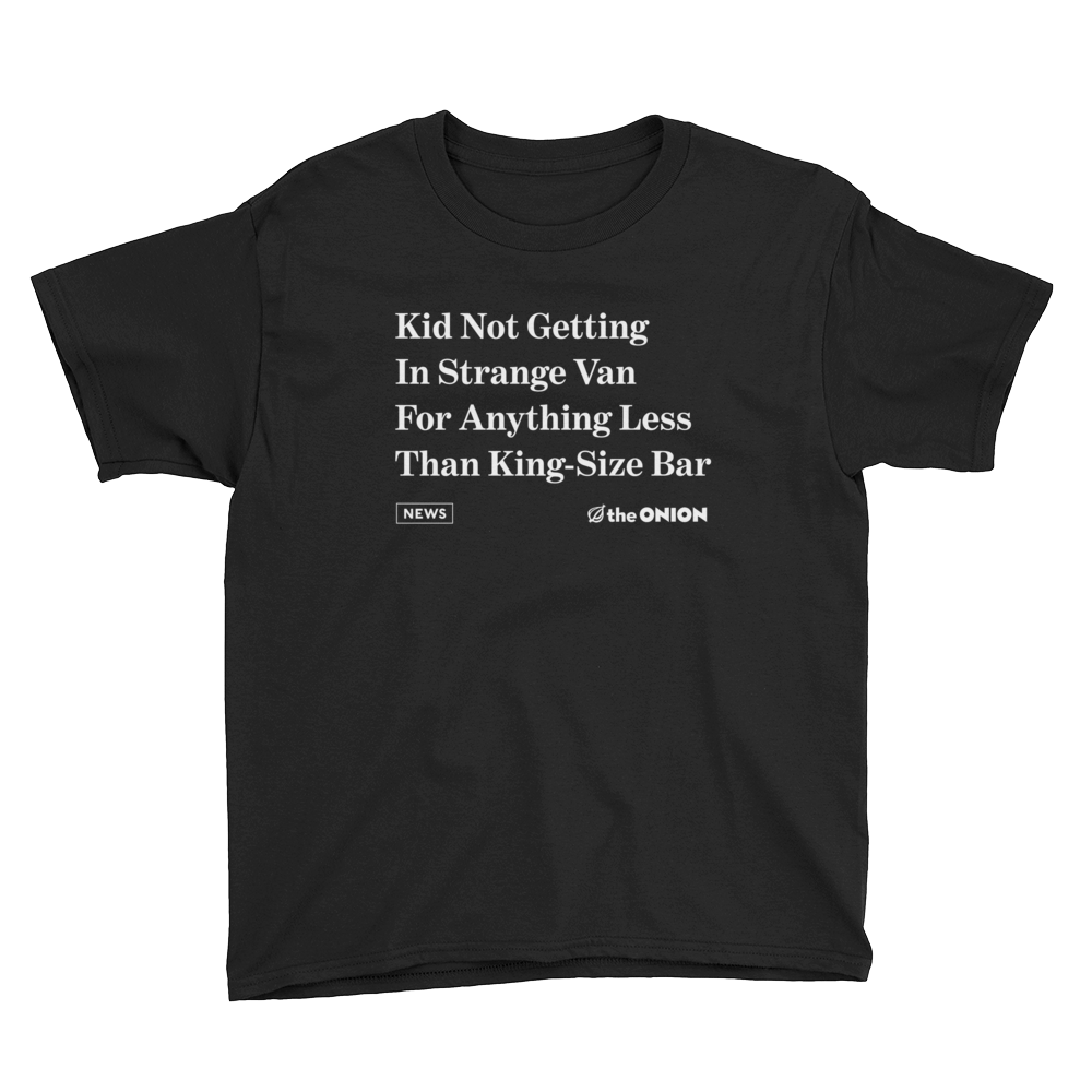 'Kid Not Getting In Strange Van' Onion Headline Kid T-Shirt Black / XL from The Onion Store