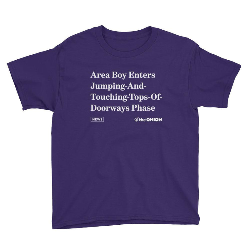 'Area Boy Enters Jumping-And-Touching-Tops-Of-Doorways Phase' Onion Headline Kids T-Shirt Purple / XL from The Onion Store