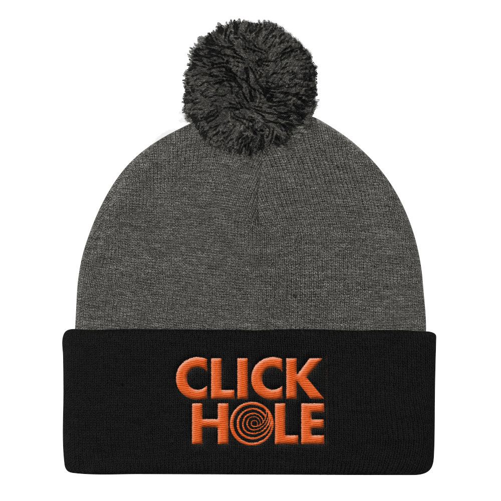 ClickHole Logo Pom Pom Knit Cap Dark Heather Grey/ Black from The Onion Store