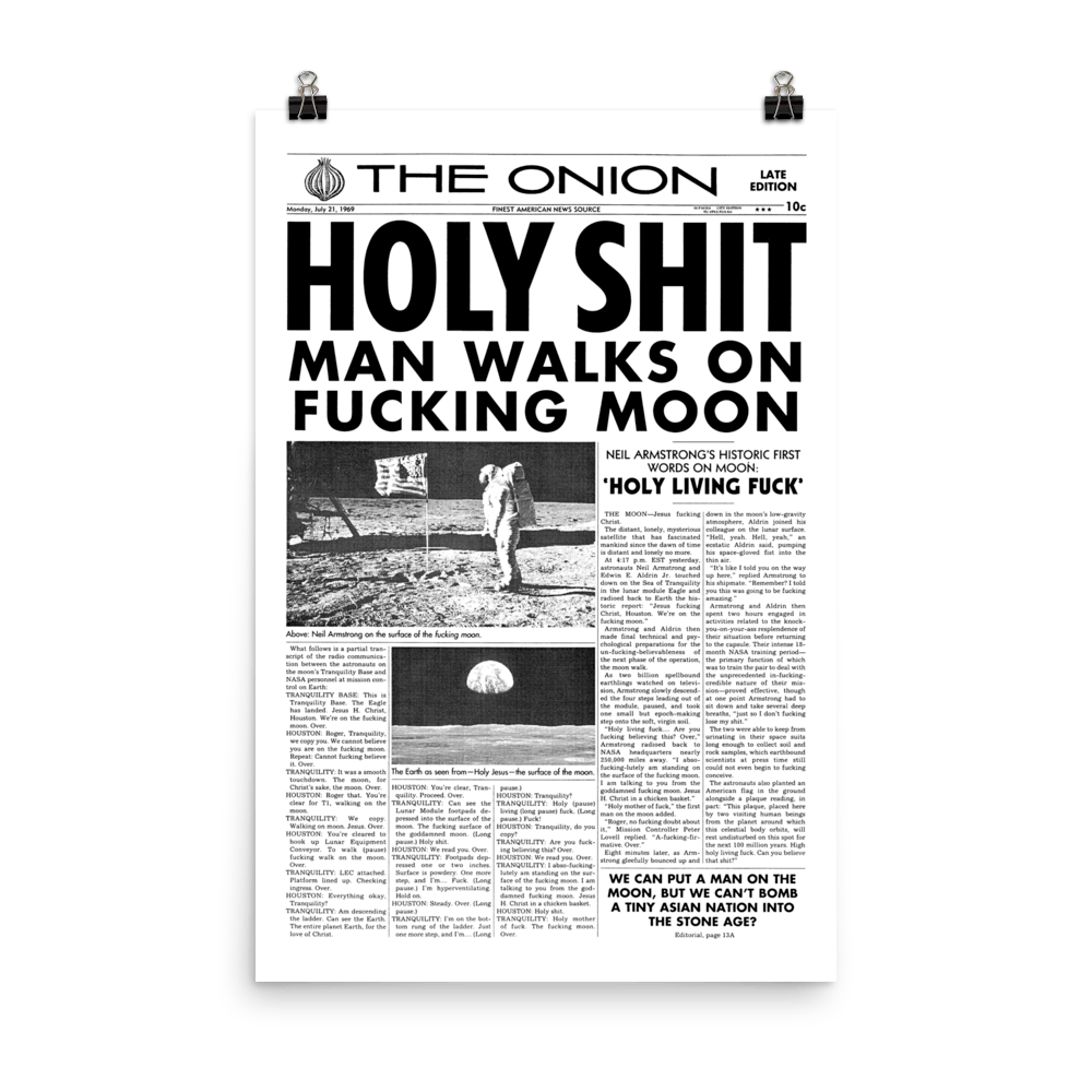 'Man Walks on Moon' Front Page Poster from The Onion's Our Dumb Century 24×36 from The Onion Store