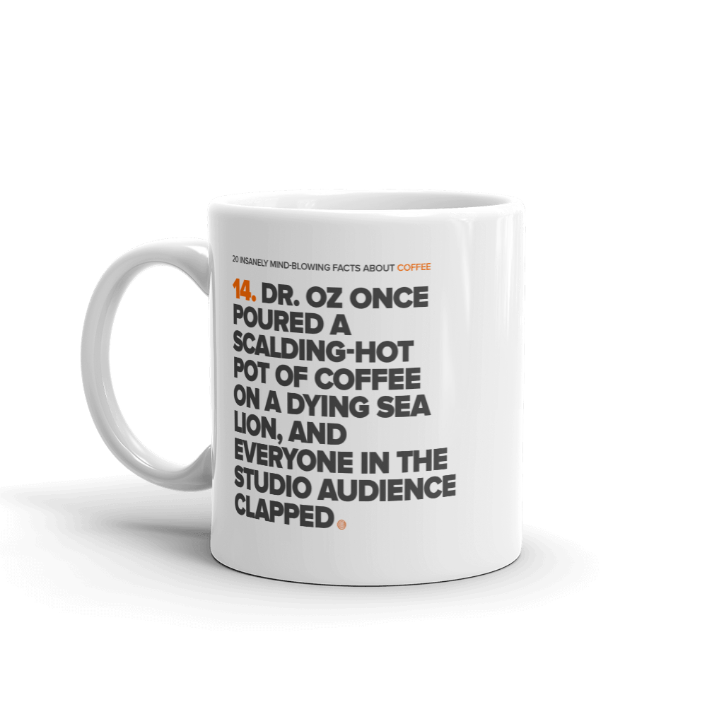 ClickHole's 'Dr Oz' Mug Coffee Facts Mug  from The Onion Store