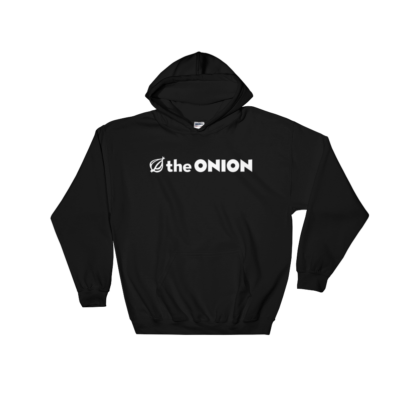 The Onion Logo Hooded Sweatshirt Black / 5XL from The Onion Store