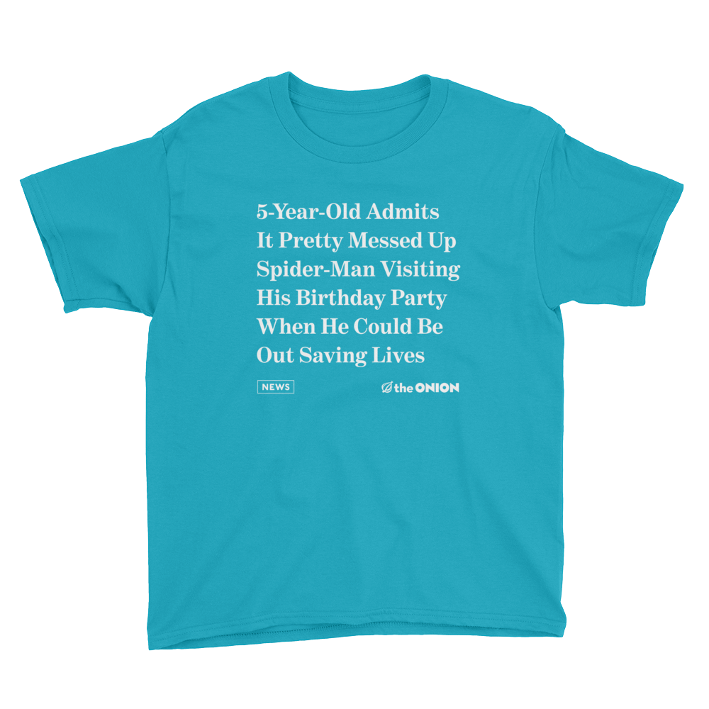317daa402 '5-Year-Old Admits It Pretty Messed Up' Onion Headline Kid T-Shirt from The  Onion Store