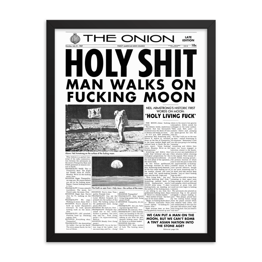 Framed 'Man Walks on Moon' Front Page Poster from The Onion's Our Dumb Century 18×24 from The Onion Store