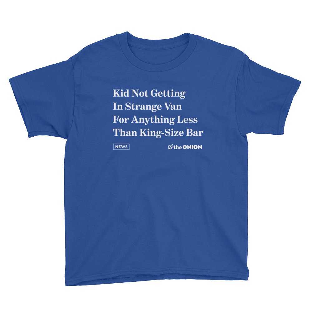'Kid Not Getting In Strange Van' Onion Headline Kid T-Shirt Royal Blue / XL from The Onion Store