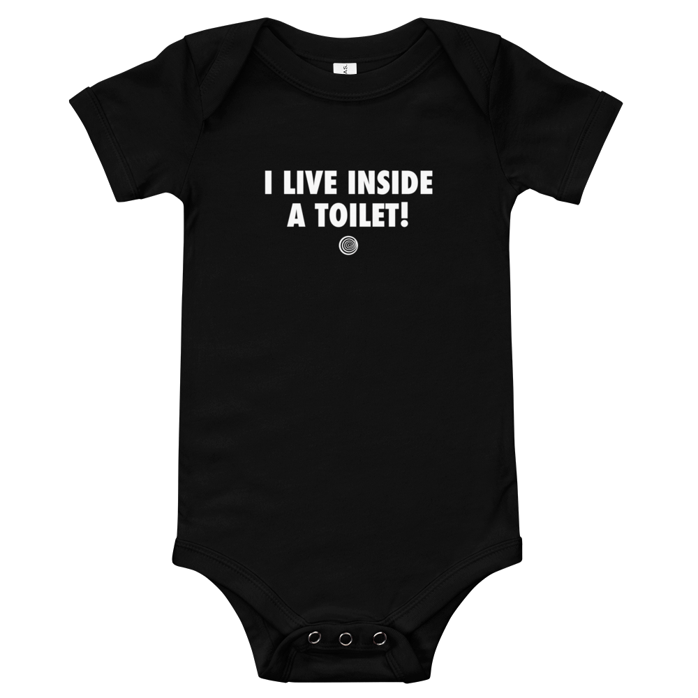 ClickHole's 'I LIVE INSIDE A TOILET!' Onesie Black / 18-24m from The Onion Store