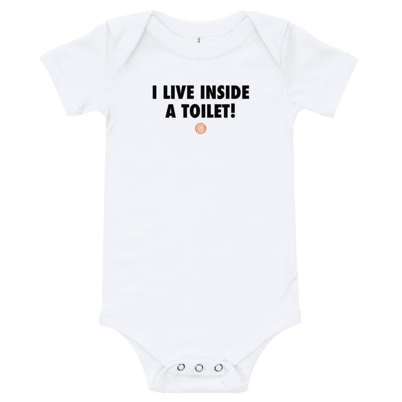ClickHole's 'I LIVE INSIDE A TOILET!' Onesie White / 18-24m from The Onion Store