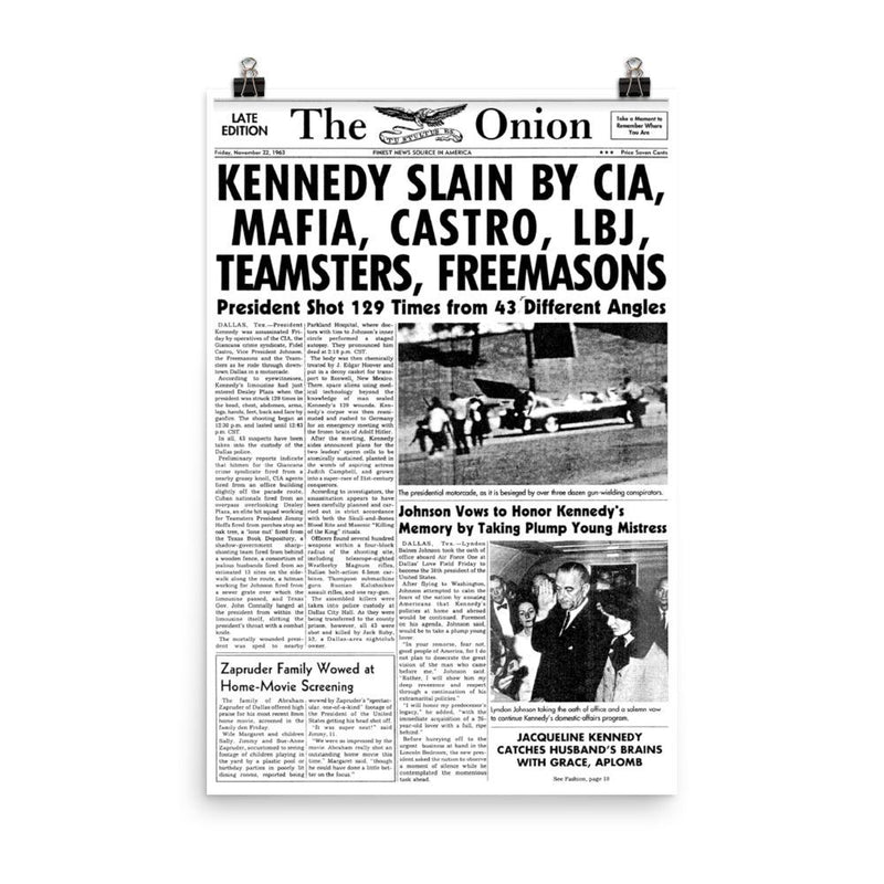 'JFK' Front Page Poster from The Onion's Our Dumb Century