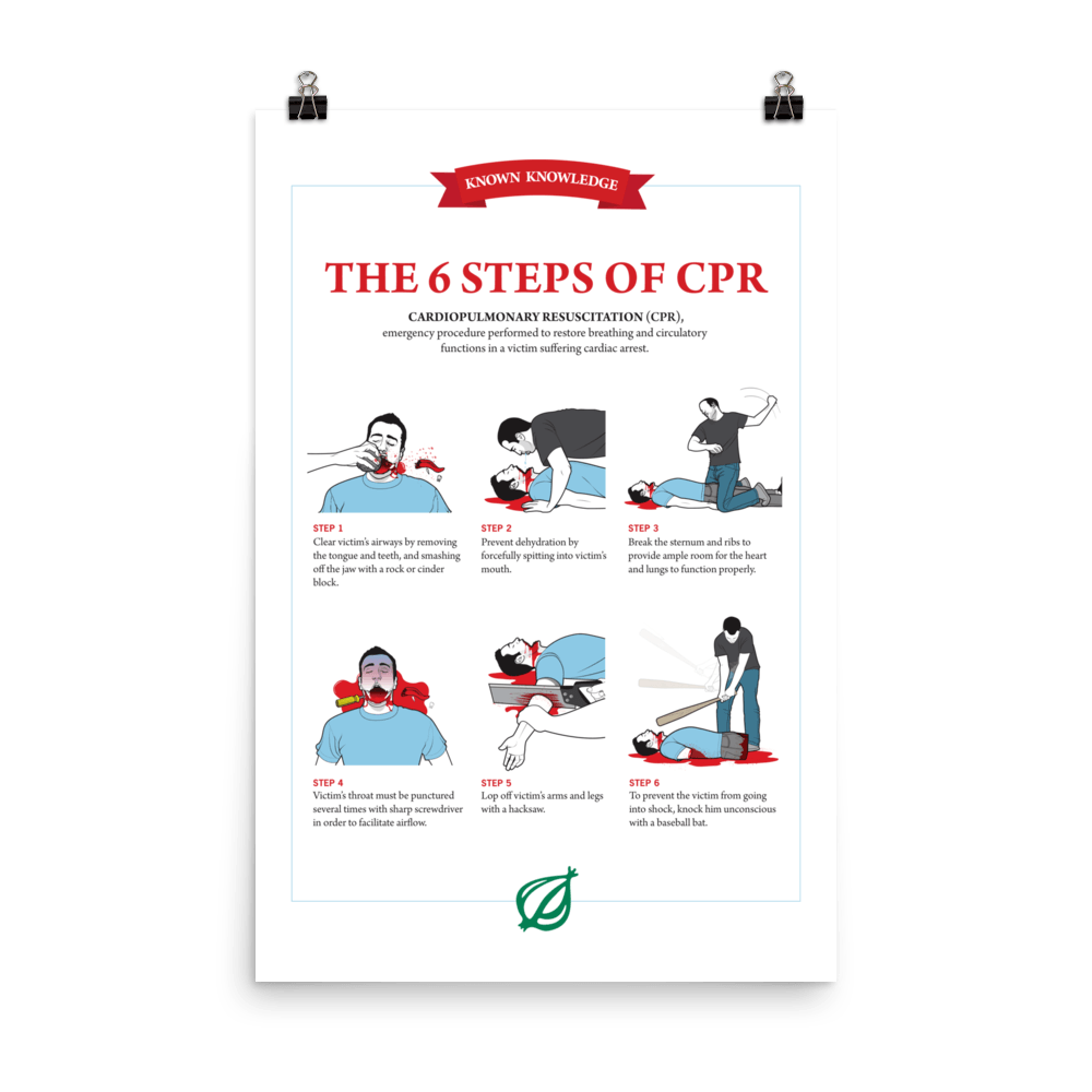 The 6 Steps Of Cpr Poster From The Onions Book Of Known Knowledge