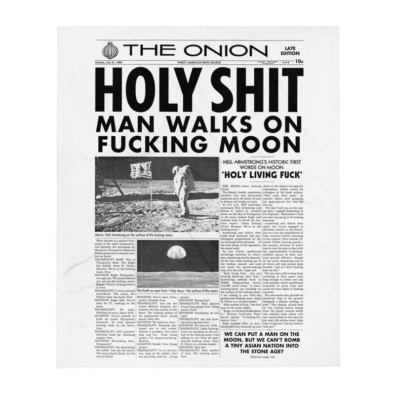 'Man Walks on Moon' Front Page Throw Blanket from The Onion's Our Dumb Century