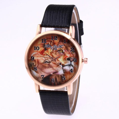 Lion Print King and Queen Wrist Watch