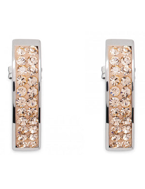 Post Earring With Rounded Stainless Steel Bar of Swarovski Pave Crystals