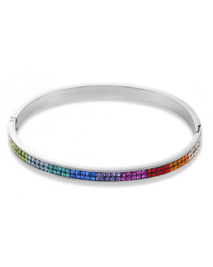 Stainless Steel Bangle With Rainbow Crystals