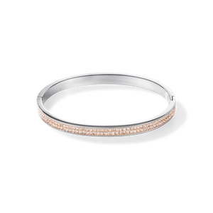 Stainless Steel Bangle With Champaign Crystals