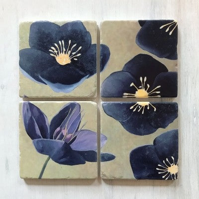 Coaster Set: Black Hellebore on Green