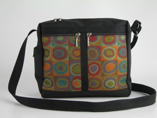 Black Messenger Bag With Martini Orange and Teal Fabric