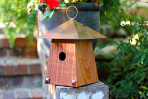 Bungalow Birdhouse in Mahogony and Copper