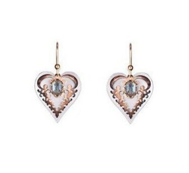 Silver and Antiqued Gold Heart Earring